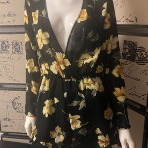 Black and yellow floral long sleeve romper